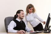 Young successful business working at office — Stock Photo
