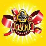 Golden casino badge on shiny background — Stock Vector