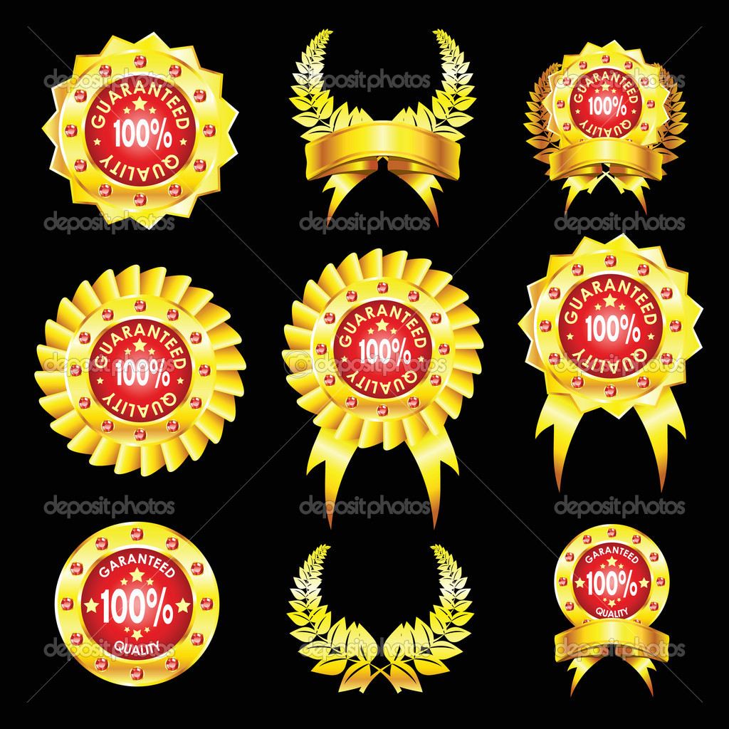 The set of golden badges isolated on black background — Stock Vector #4093071