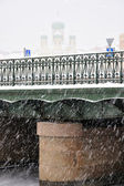 Views of St. Petersburg, the Orthodox Cathedral of the shroud of snow — Stock Photo