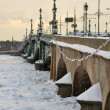 Stock Photo: Trinity Bridge over River Nevin St. Petersburg