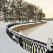Stock Photo: Granite embankment covered with snow, St. Petersburg