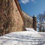 一个古老的城堡山上的堡垒石头墙壁 — 图库照片