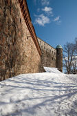 The fortress stone wall of an old castle on the hill — Stock Photo
