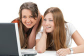 Two young happy student girl — Stock Photo