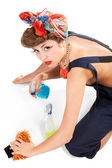 Pin up girl, bonde housewife — Stock Photo