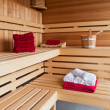 Stock Photo: Interior of a wooden sauna
