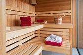 Interior of a wooden sauna — Stock Photo
