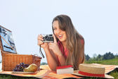 Young woman making a picture — Stock Photo