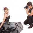 Young adult female model and photographer. — Stock Photo