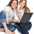 Two student girl with laptop — Stock Photo