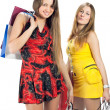 Shopping. Two beautiful girl with bag — Stock Photo