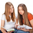 Two young happy student girl — Stockfoto