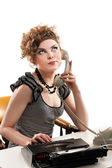 Businesswoman taking telephone call in office — Stock Photo