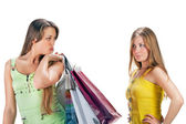 Winkelen. twee mooi meisje met zak — Stockfoto