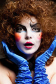 Woman mime with theatrical makeup — Stock Photo