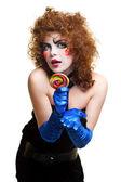Femme mime avec chant de maquillage théâtral — Photo