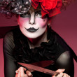 Wommime with knife — Stock Photo #5162564