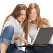 Two young happy student girl work on laptop — Stock Photo #5355368
