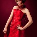 Beautiful girl in red dress — Stock Photo