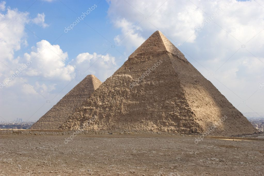 The Pyramid of Khafrae is the second largest of the Ancient Egyptian Pyramids of Giza and the tomb of the fourth-dynasty pharaoh Khafre (Chephren in Greek), The — Stock Photo #5247449