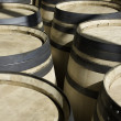 Stock Photo: Rows of new barrels for stocking wine