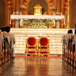 Church sanctuary before a wedding ceremony — Stock Photo