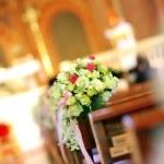 Church sanctuary before a wedding ceremony — Stock Photo