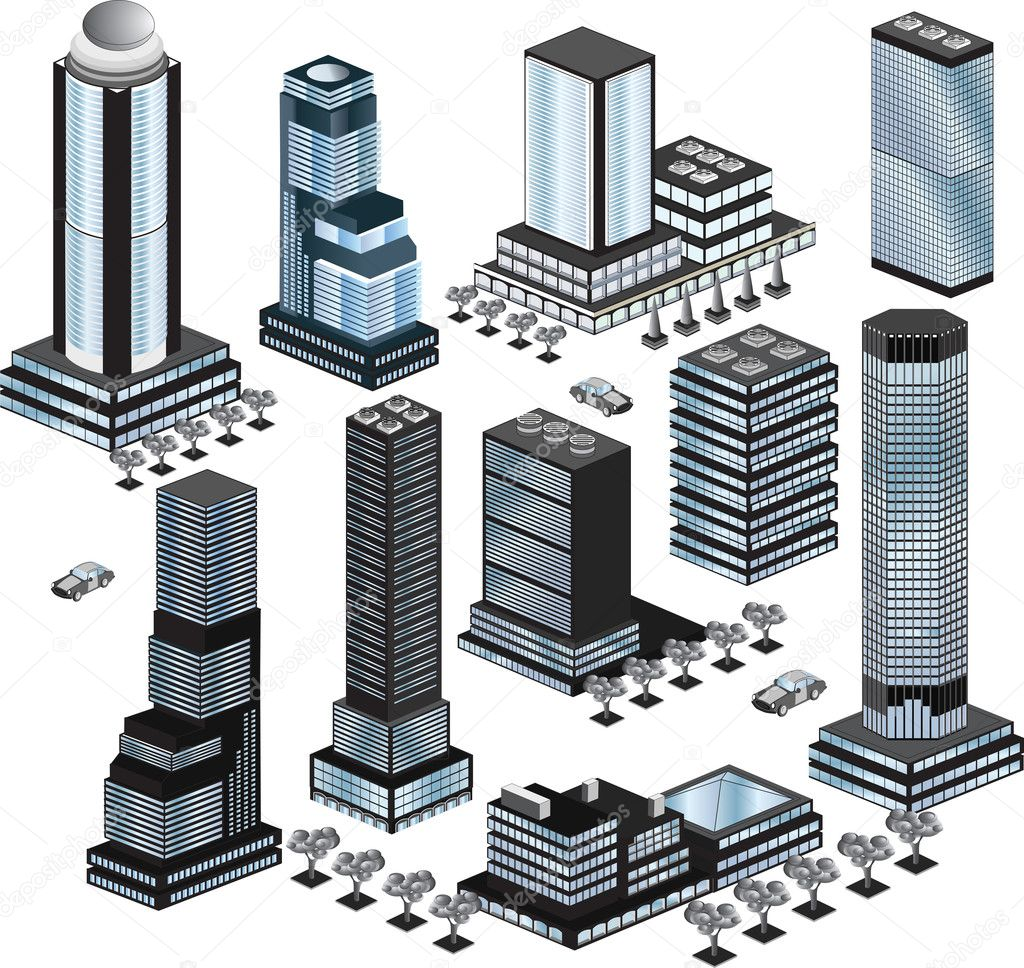 Various variants of buildings on the white — Imagen vectorial #4335292