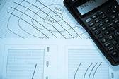 Diagrams and calculator — Stock Photo
