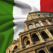Italian flag - Stock Photo