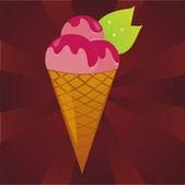 Strawberry ice cream — Stock Vector