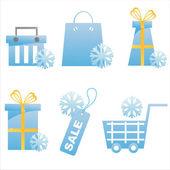 Icônes commerçante d'hiver — Vecteur