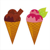 Set of 2 ice creams — Stock Vector