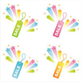 Sale tags with star splashes — Stock Vector
