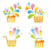 Orange baskets with splashes — Stock Vector