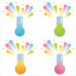 Stock Vector: Chemical bottles with splashes