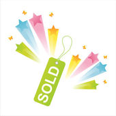 Sale tag with splash — Stock Vector