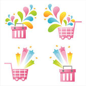 Pink baskets with splashes — Vector de stock