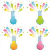 Chemical bottles with splashes — Stock Vector