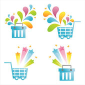 Blue baskets with splashes — Vector de stock