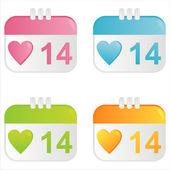 Hearts calendar icons — Stock Vector