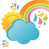 雲と太陽の背景 — ストックベクタ