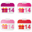 St. valentine's day calendar icons - Stock Vector