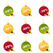 Christmas sale balls — Stock Vector