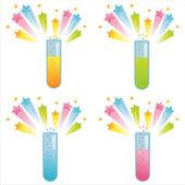 Químicas botellas con salpicaduras — Vector de stock