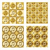 Cute musical patterns — Stock Vector