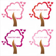 St. valentine's day tree frames — Stock Vector