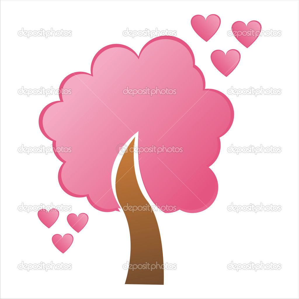 St. valentine's day tree with hearts — Stock Vector #4582916