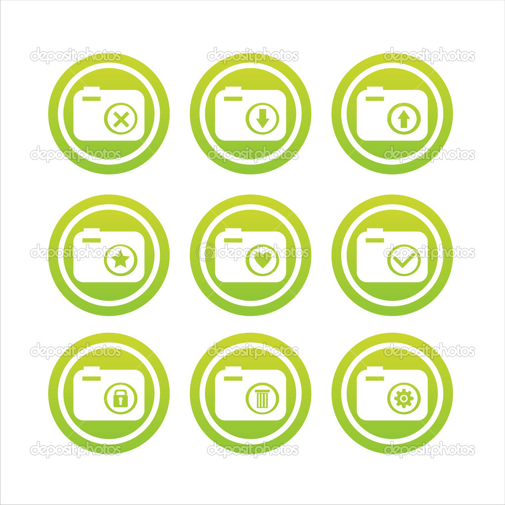 Set of 9 green photography signs  Stock Vector #4595640